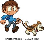 Stock vector kid walking dog vector illustration all in a single layer 96625480