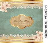 lacy square banner with flowers ... | Shutterstock .eps vector #96626794