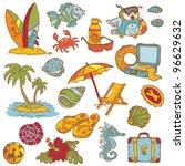seaside doodles   hand drawn... | Shutterstock .eps vector #96629632