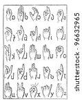 alphabet of deaf mutes  vintage ... | Shutterstock .eps vector #96632965
