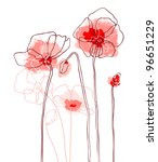 red poppies on a white... | Shutterstock .eps vector #96651229