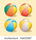 vector set of beach balls | Shutterstock .eps vector #96652087