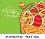 basket of easter eggs on green... | Shutterstock .eps vector #96657508