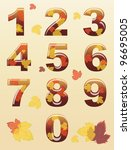 a set of numbers with autumn... | Shutterstock .eps vector #96695005