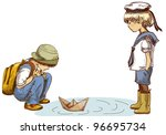 Vector Illustration Of Two Boys ...