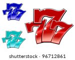 glossy 777 jackpot symbol... | Shutterstock .eps vector #96712861