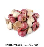 A pile of fresh red onion and garlic isolated on white background, selective focus. - stock photo