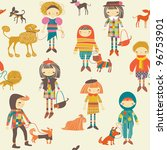 girls and boys with dogs | Shutterstock .eps vector #96753901