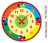 funny cartoon clock for kids | Shutterstock .eps vector #96760732