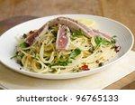 spaghetti with tuna steak ... | Shutterstock . vector #96765133
