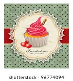 vintage background with cupcake ... | Shutterstock .eps vector #96774094