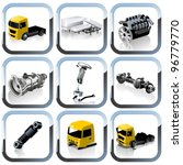 vector truck spares icons set | Shutterstock .eps vector #96779770