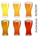 Lager, Amber And Stout Beers Set/ Illustration of a mouth watering set with various pints of beer