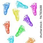 Imprints Of Baby Feet On White...
