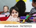 happy little girl in school... | Shutterstock . vector #96785923