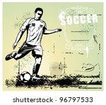 soccer grunge scene with player ... | Shutterstock .eps vector #96797533