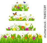 Stock vector grass with flowers set vector illustration 96802189