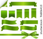 green ribbons set  isolated on... | Shutterstock . vector #96806413