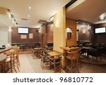 Stock photo modern and simple cafe interior with wooden classical furniture 96810772