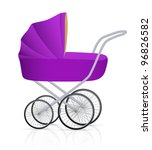 Isolated Purple Baby Buggy....