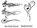 key notes with floral elementes | Shutterstock .eps vector #96834445