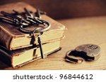 Old Keys On A Old Book  Antiqu...