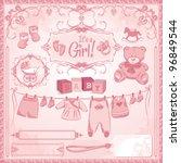 baby girl arrival set  birth... | Shutterstock .eps vector #96849544