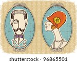 Man And Woman Portraits.vector...