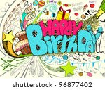 illustration of colorful happy... | Shutterstock .eps vector #96877402