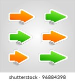 set of vector arrow stickers . | Shutterstock .eps vector #96884398
