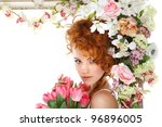 beautiful redheaded girl with... | Shutterstock . vector #96896005