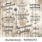 vector set of calligraphic design elements, page decoration, Premium Quality, Awesome and Satisfaction Guarantee Label collection, Vintage wood background