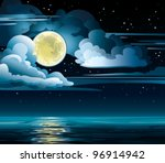 Vector Night Cloudy Sky With...