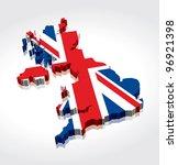 3d flag map of the uk  united... | Shutterstock .eps vector #96921398