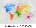 world map painting on hand made ... | Shutterstock . vector #96933608