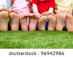 happy friends sitting on the... | Shutterstock . vector #96942986
