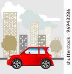 red car parked on the street ...   Shutterstock .eps vector #96943286