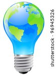 Illustration of an electric light bulb with a world globe. Conceptual illustration - stock vector