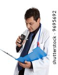 a doctor recording or dictating ... | Shutterstock . vector #9695692
