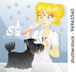 Pet Hairdresser Woman Vector