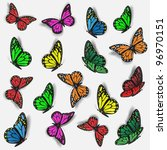 Stock vector collection of colorful butterflies vector eps 96970151