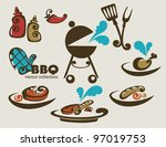 bbq vector collection of symbols | Shutterstock .eps vector #97019753