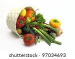 wicker basket full of fresh... | Shutterstock . vector #97034693