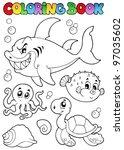 coloring book various sea... | Shutterstock .eps vector #97035602