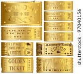 gold cinema and sale ticket... | Shutterstock .eps vector #97040156