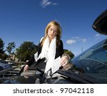 angry woman getting a parking... | Shutterstock . vector #97042118