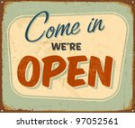 vintage metal sign   open  ... | Shutterstock .eps vector #97052561