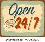 Vintage Metal Sign   Open 24 7  ...