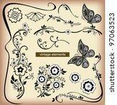 vector set flower vintage... | Shutterstock .eps vector #97063523