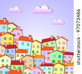 colorful little town .vector... | Shutterstock .eps vector #97073486